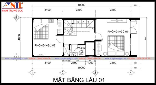 Mẫu thiết kế nhà phố DT 4x10m